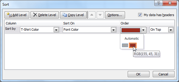 Selecting a font color