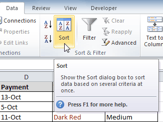 Opening the Sort dialog box
