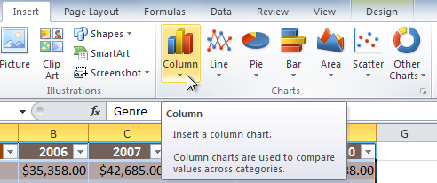 Selecting the Column category