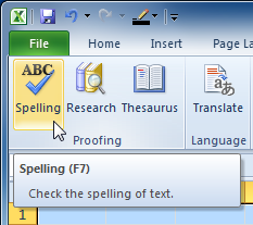 Selecting the Spelling command