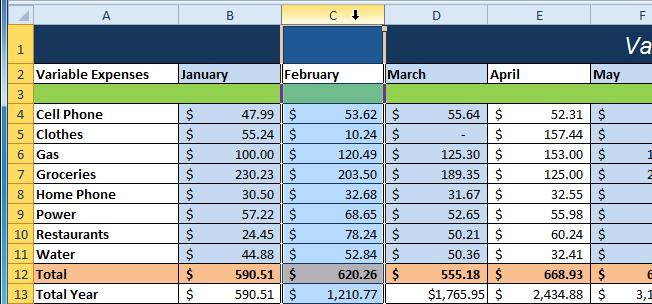 Selecting column C