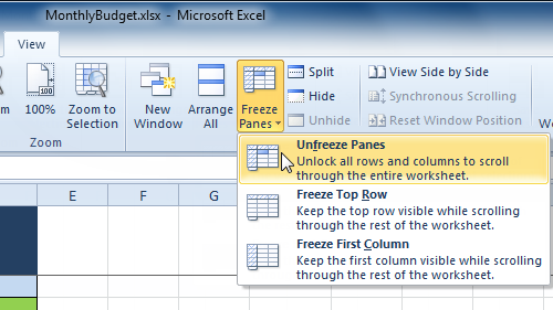 Selecting the Unfreeze Panes command from the View tab