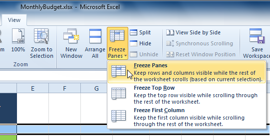 Selecting the Freeze Panes command from the View tab