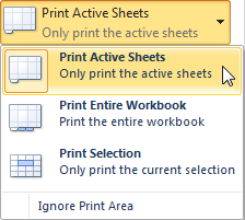 Selecting the Print Active Sheets command