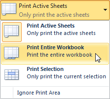 Selecting the Print Entire Workbook command