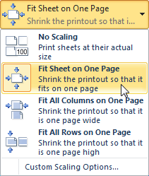 Selecting the Fit Sheet on One Page command