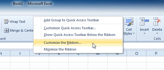 Right-clicking the Ribbon to customize it