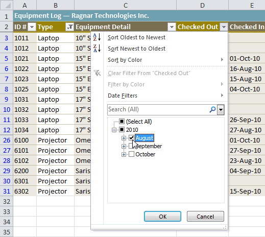 Selecting filter data