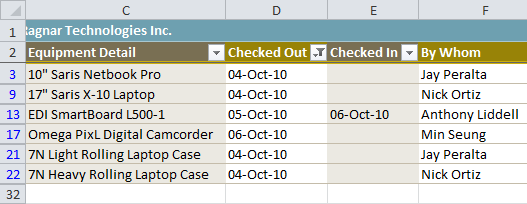 Worksheet filtered by date