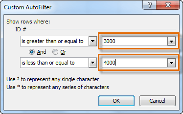 Entering filter numbers