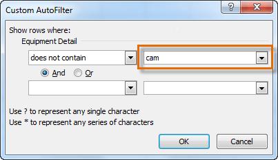 Entering filter text