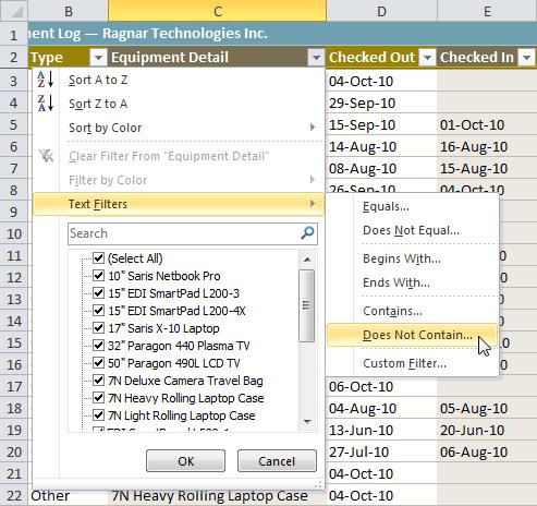 Selecting a text filter