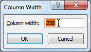 Increasing column width to 258 pixels