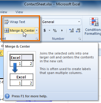 Selecting the Merge & Center command