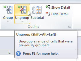Ungrouping the selected cells