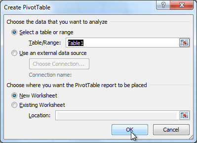 The Create PivotTable dialog box