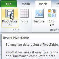 excel 2010 creating pivottables