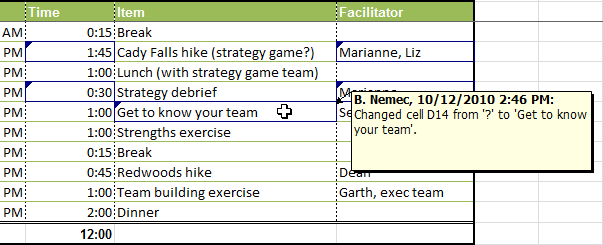 Worksheet with tracked changes