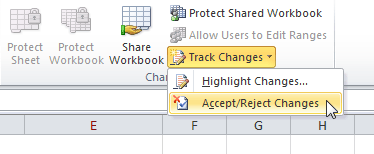 Accept/Reject Changes command