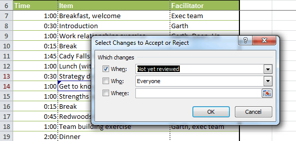 Identifying which changes to accept or reject