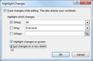 Listing changes on a separate worksheet