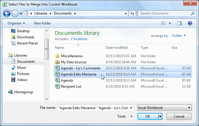 Selecting files to merge into the current workbook