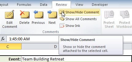 Show/Hide Comment command