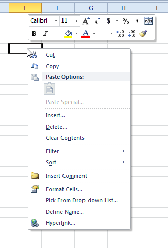 Right-clicking a selected cell
