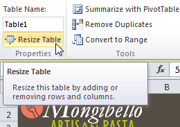 Resize Table command