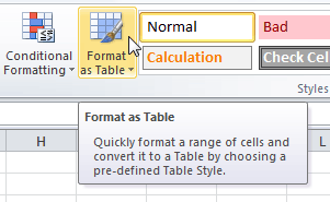 Format as Table command