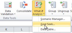 Selecting Goal Seek