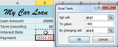 Entering values into the Goal Seek fields