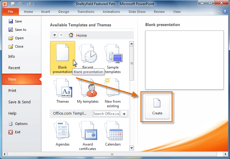 powerpoint 2010: getting started with powerpoint - full page, Presentation templates