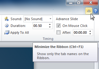 Minimize the Ribbon button