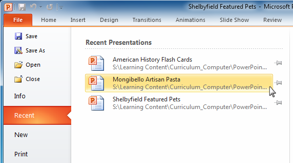 Powerpoint 2010 getting started with powerpoint opening a recent presentation toneelgroepblik Image collections