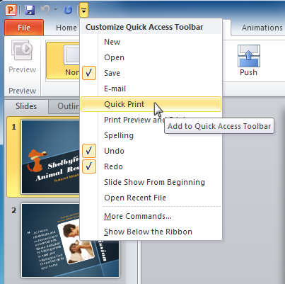 Adding a command to the Quick Access toolbar
