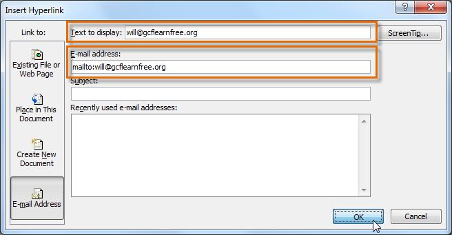 Ввод адреса электронной почты и отображения текста