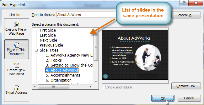 Selecting a slide to link to