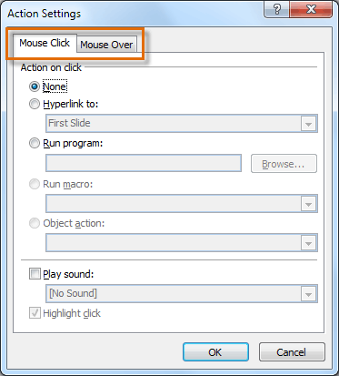 The Action Settings dialog box
