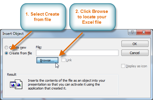 The Insert Object dialog box