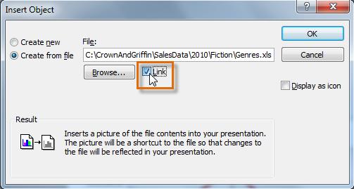 Связывание диаграммы с исходным файлом Excel