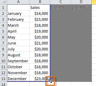Перетаскивание синей линии для уменьшения диапазона данных