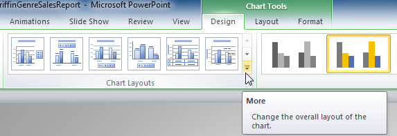The More Layouts drop-down arrow