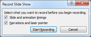 The Record Slide Show dialog box
