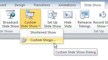 The Custom Slide Show command