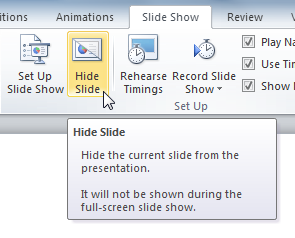 The Hide Slide command