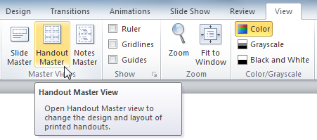 The Handout Master View command