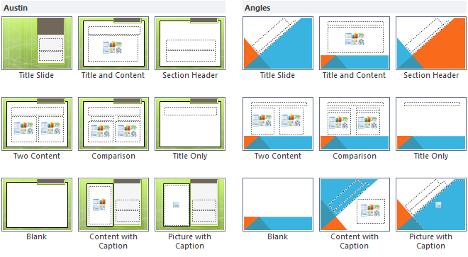Austin Theme and Angles Theme slide layouts