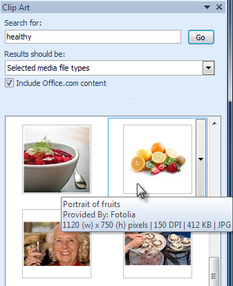 Selecting a Clip Art image