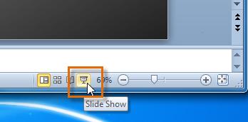 Запуск функции просмотра слайд-шоу
